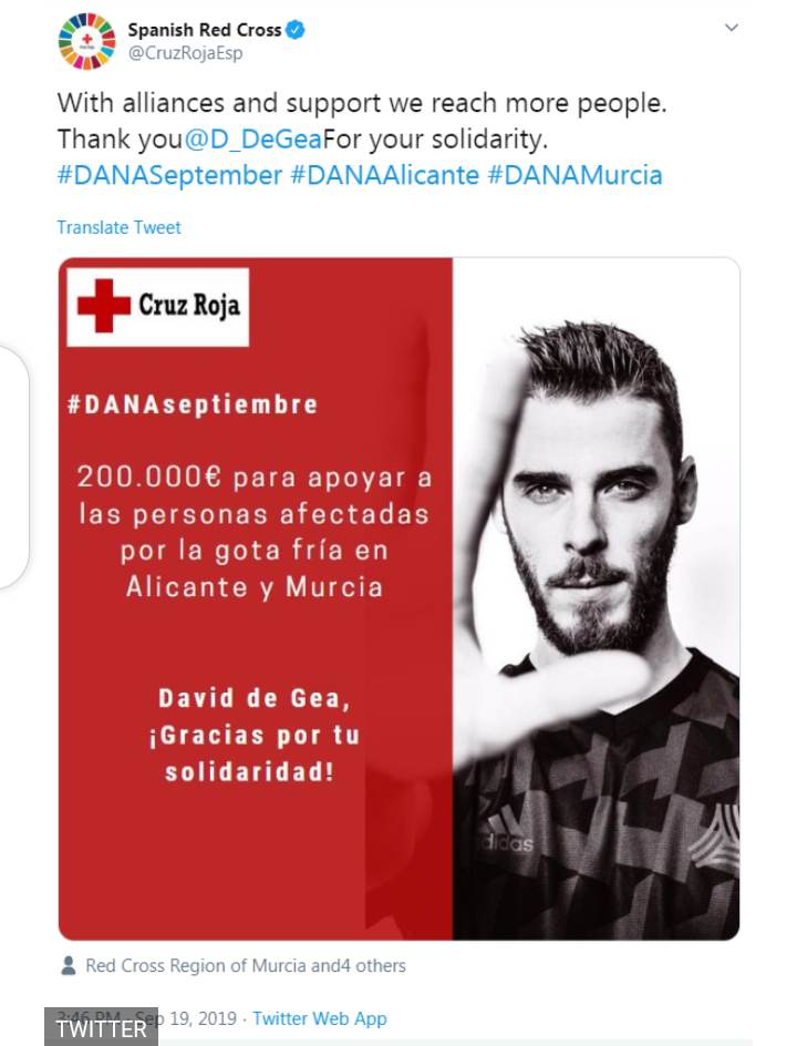 David de Gea donates ?175,000 to Red Cross  to help victims of devastating storm which left seven dead and thousands homeless in Spain