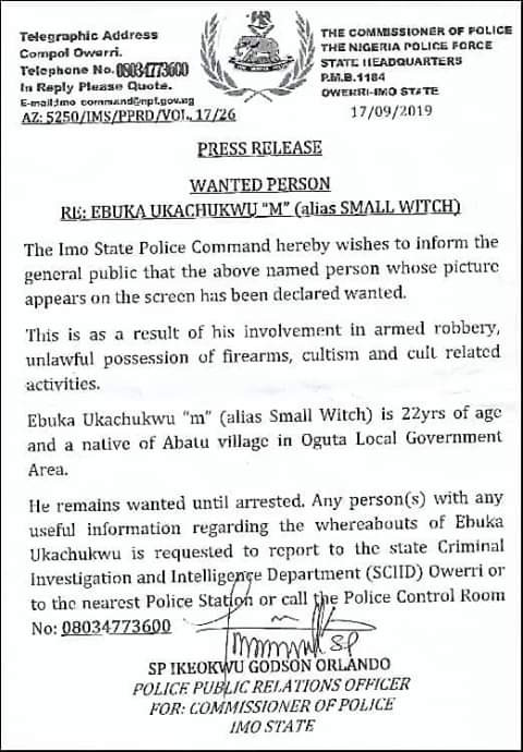Imo State Police declares Ebuka Ukachukwu (Small Witch) wanted for armed robbery, cultism
