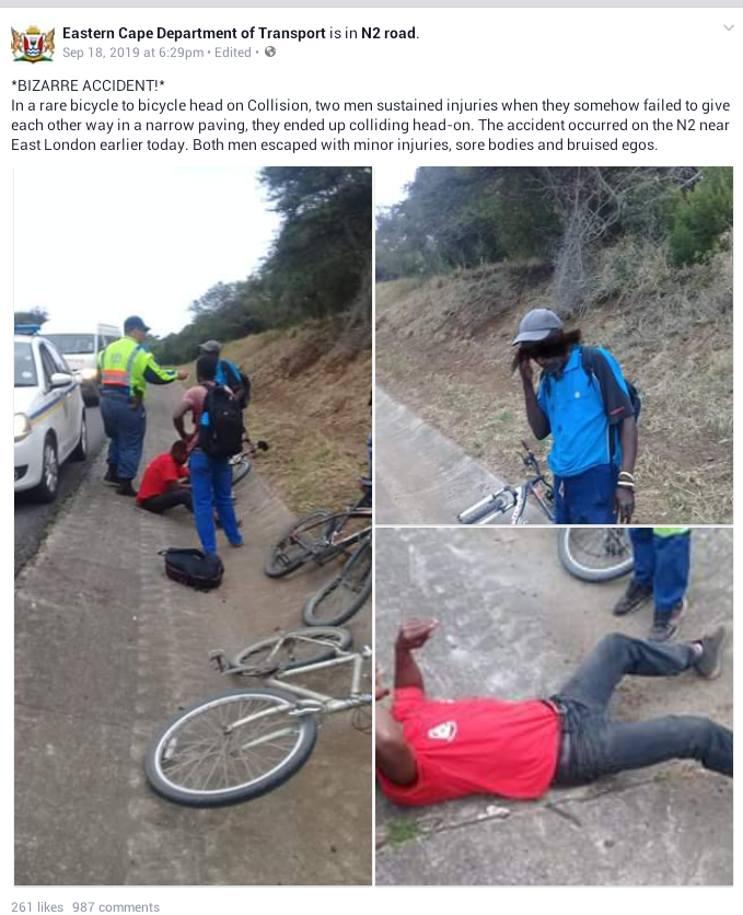 Two men escape with injuries in a bizzare head-on bicycle collision after they refused to give each other way in a narrow paving
