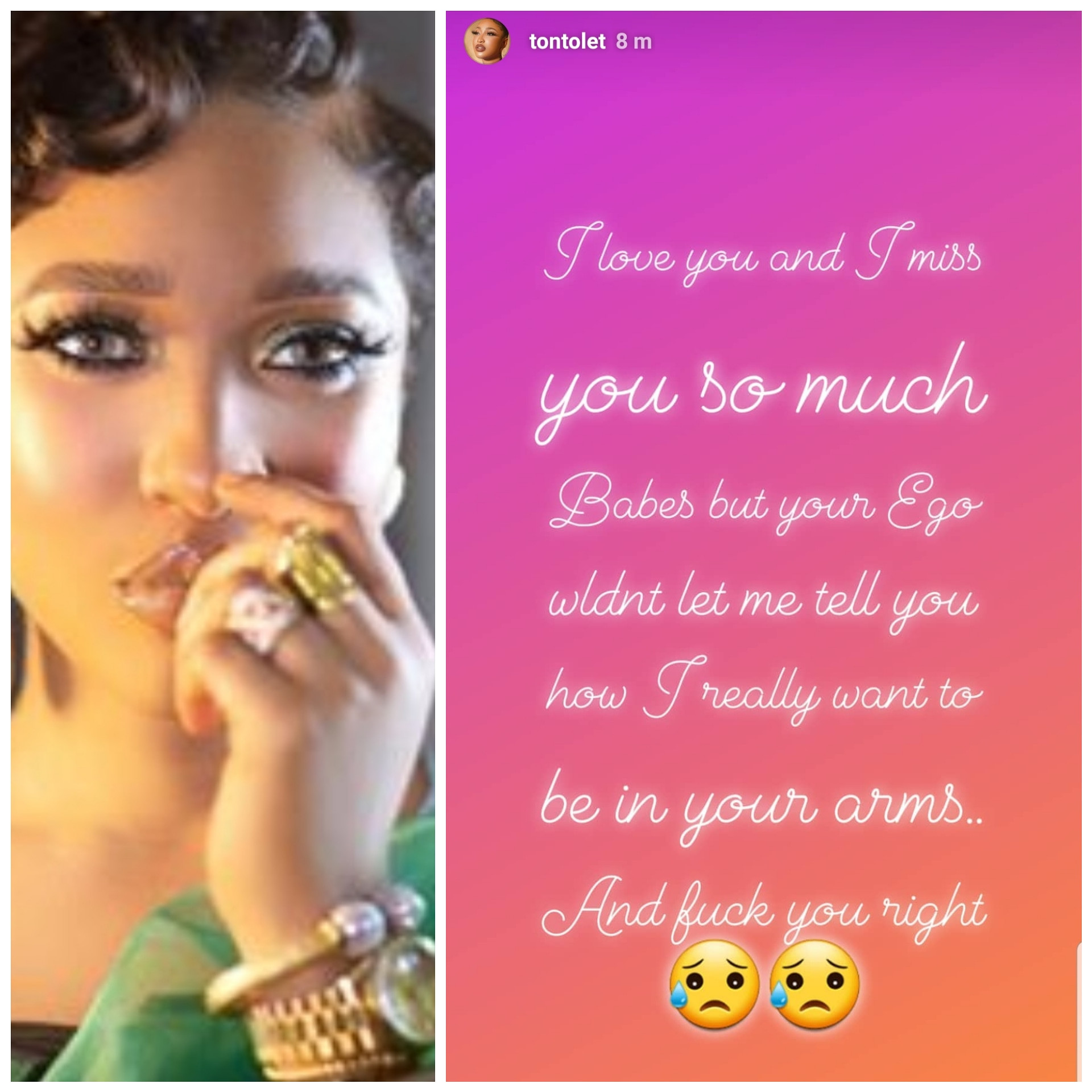 I really want to be in your arms and f**k you right - Tonto Dikeh sends passionate appeal to her bae on IG