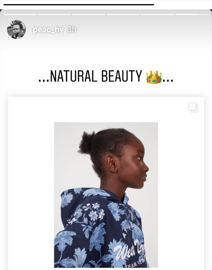 Peace Hyde reacts to H&M using a black child model without styling her hair