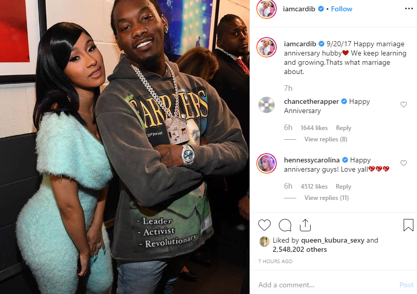 Cardi B and Offset celebrate second wedding anniversary