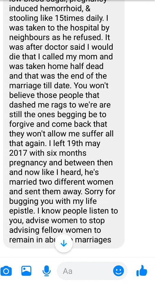 Nigerian man shares chat from an old school friend who went through a scathing domestic abuse