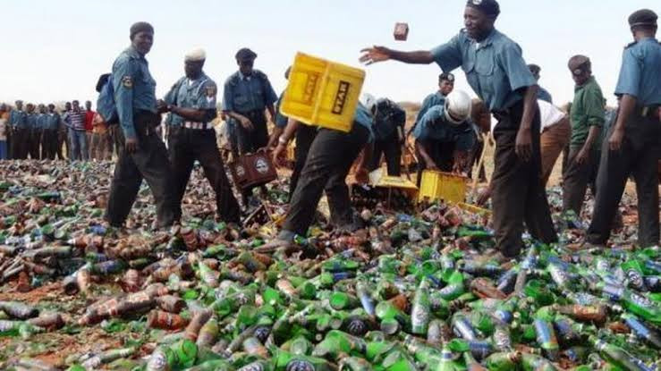 Governor Ganduje says his administration is a Shari?a compliant Government as Kano Hisbah destroys 196, 400 bottles of alcohol