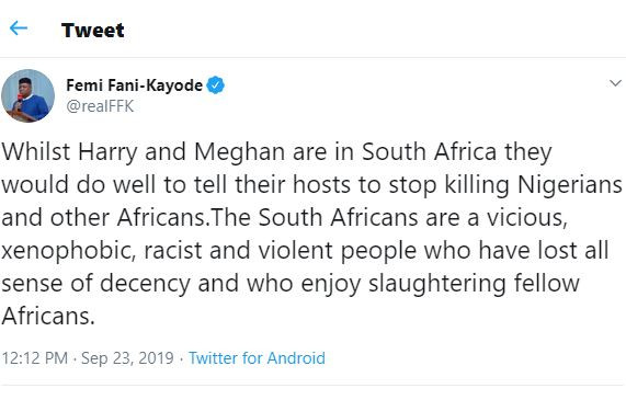 Xenophobia: Femi Fani-Kayode tells Prince Harry and Meghan Markle what to do while they are in South Africa