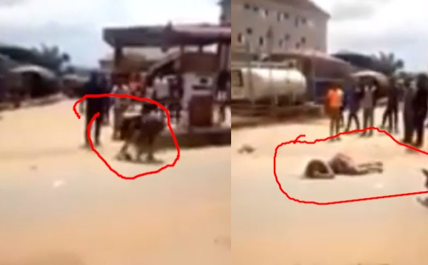 Lady allegedly runs mad after alighting from G-Wagon in Anambra state (video)