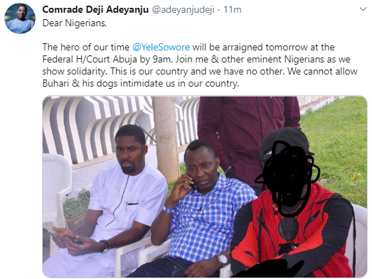 Omoyele Sowore to be arraigned in court tomorrow Tuesday September 24th
