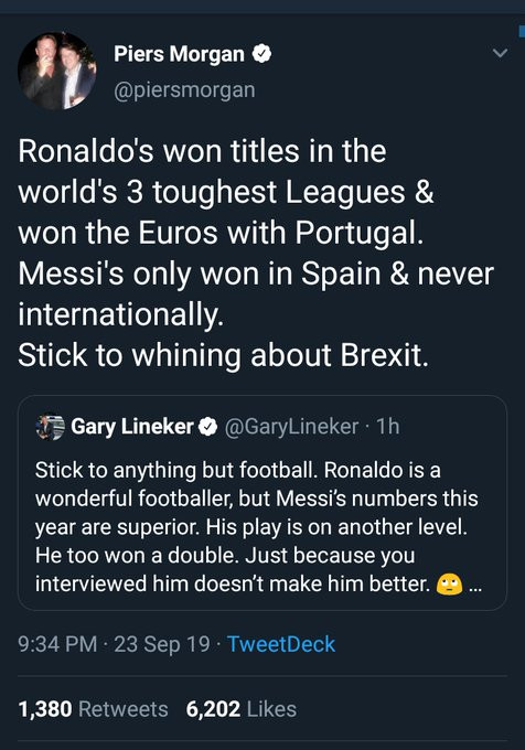 Stick to anything but football - Gary Lineker and Piers Morgan fight dirty on Twitter after Messi won 2019 FIFA Best Men