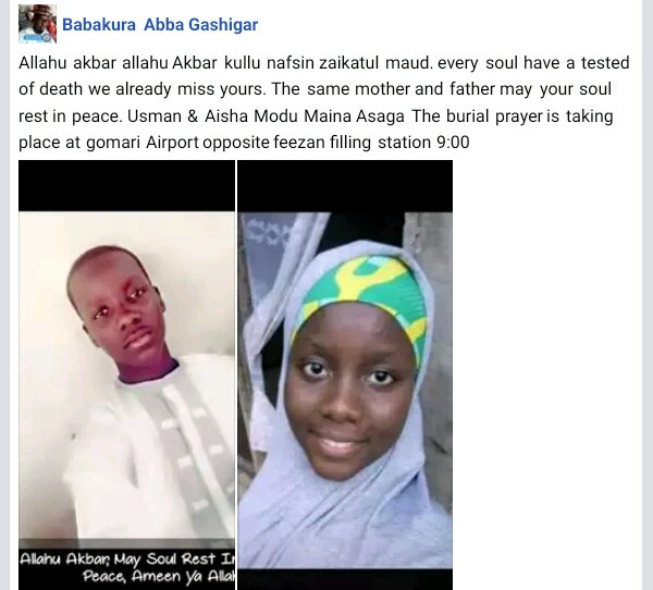Young siblings die 24 hours apart in Maiduguri