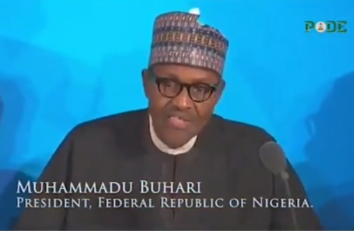 Video of President Buhari answering a question at the UN general Assembly that has got Nigerians talking