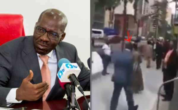 Governor Godwin Obaseki mock by protesters in New York (video)