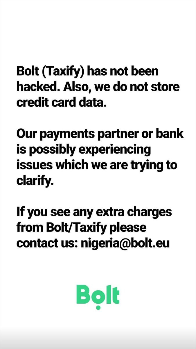Bolt reacts to alleged server hack as customers receive multiple debit alerts for trips they never took