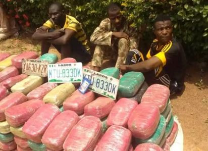 Photo: Nigerian army corporal arrested with 169 blocks of cannabis in Jigawa State