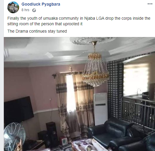 Imo youths drop coffins in sitting room of man that exhumed them over land dispute (graphic photo)