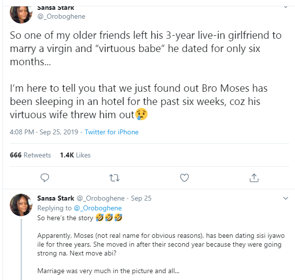 Lady narrates what happened after her older friend left his girlfriend of 3 years to marry a virgin and 'virtuous woman' he dated for 6 months