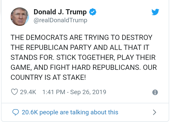 'The Democrats are trying to destroy the Republican party, stay strong!' - Donald Trump tweets in all caps