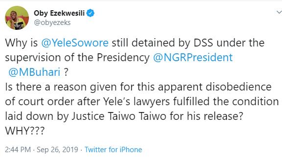 Oby Ezekwesili tackles President Buhari over Omoyele Sowore