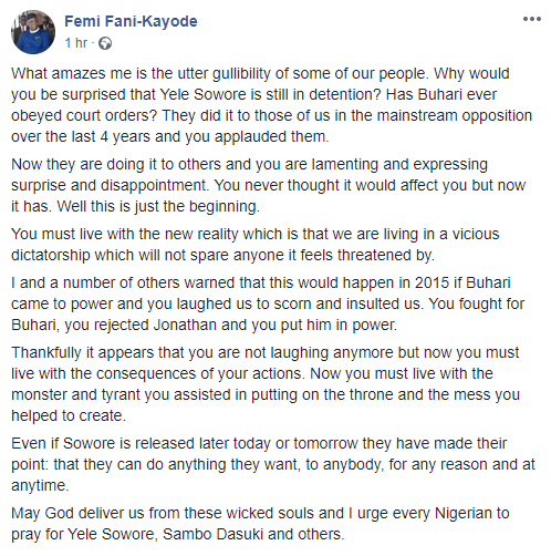 You must live with the consequences of rejecting Jonathan and putting Buhari in power- FFK reacts to Sowore