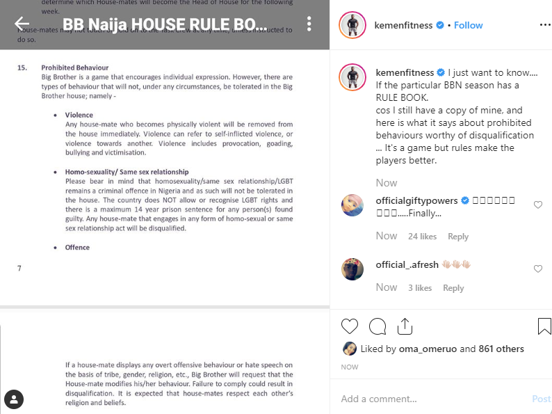 BBNaija: Kemen shares a photo of BBNaija rule book after Mercy and Tacha