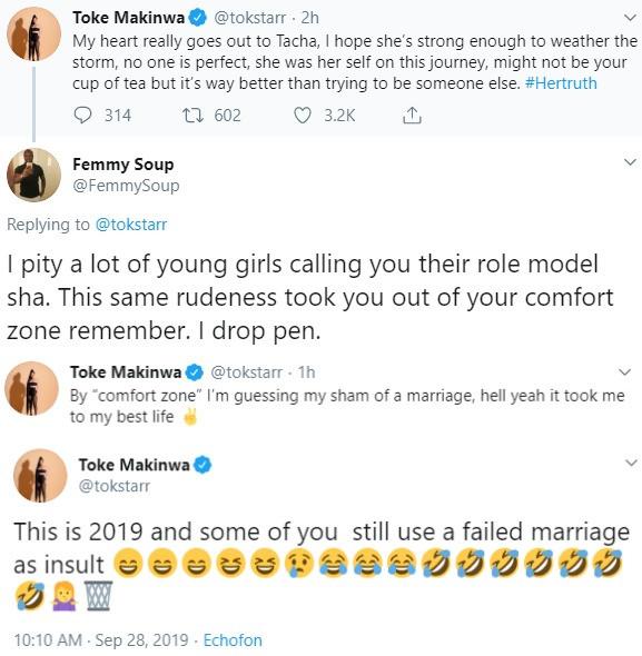 Between Toke Makinwa, a twitter troll and her