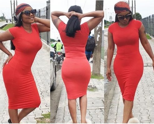 Actress, Iyabo Ojo flaunts her sexy shape in figure-hugging dress (Photos)