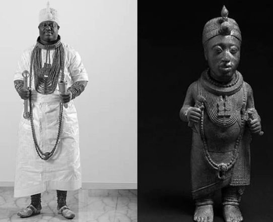 Image result for Ooni Of Ife Recreates Photo Of The 4th Ooni Of Ife Who 'Lived For Over 500 Years'