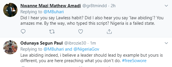 Twitter users react to President Buhari call for all Nigerians to be law-abiding