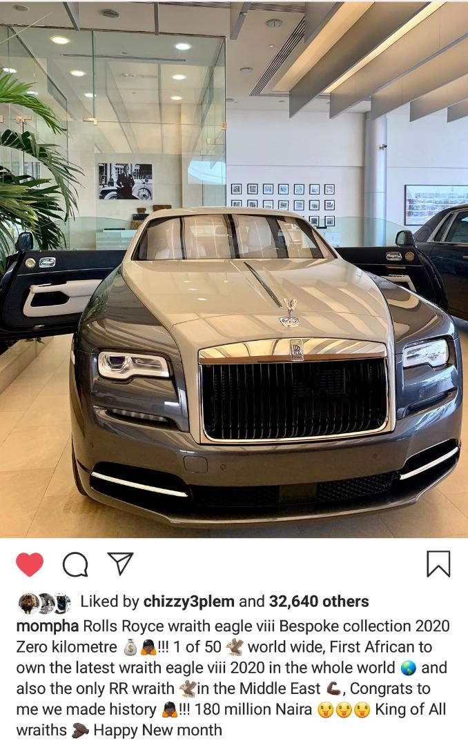 Mompha splashes N180m on the latest Rolls Royce Wraith Eagle viii 2020, claims he