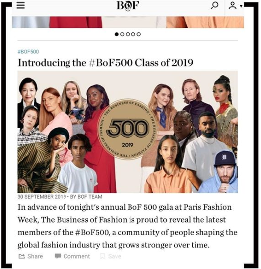 BoF recognizes Betty Irabor as one of the 500 people shaping the fashion industry, alongside Meghan Markle and Celine Dion