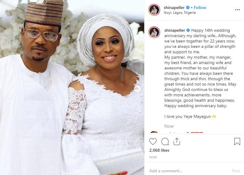 Shina Peller and wife celebrate 14th wedding anniversary