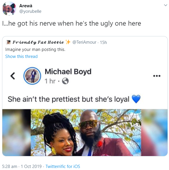Man receives condemnation for the caption he used while sharing his woman