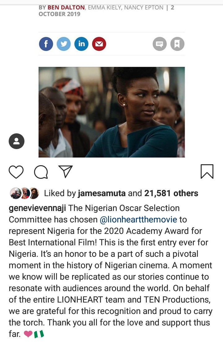 Genevieve Nnaji reacts to her movie Lion Heart receiving nomination for an Oscar award
