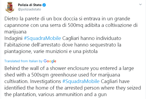 Italian Police discovers a 500sqm greenhouse used for marijuana cultivation behind a bathroom door