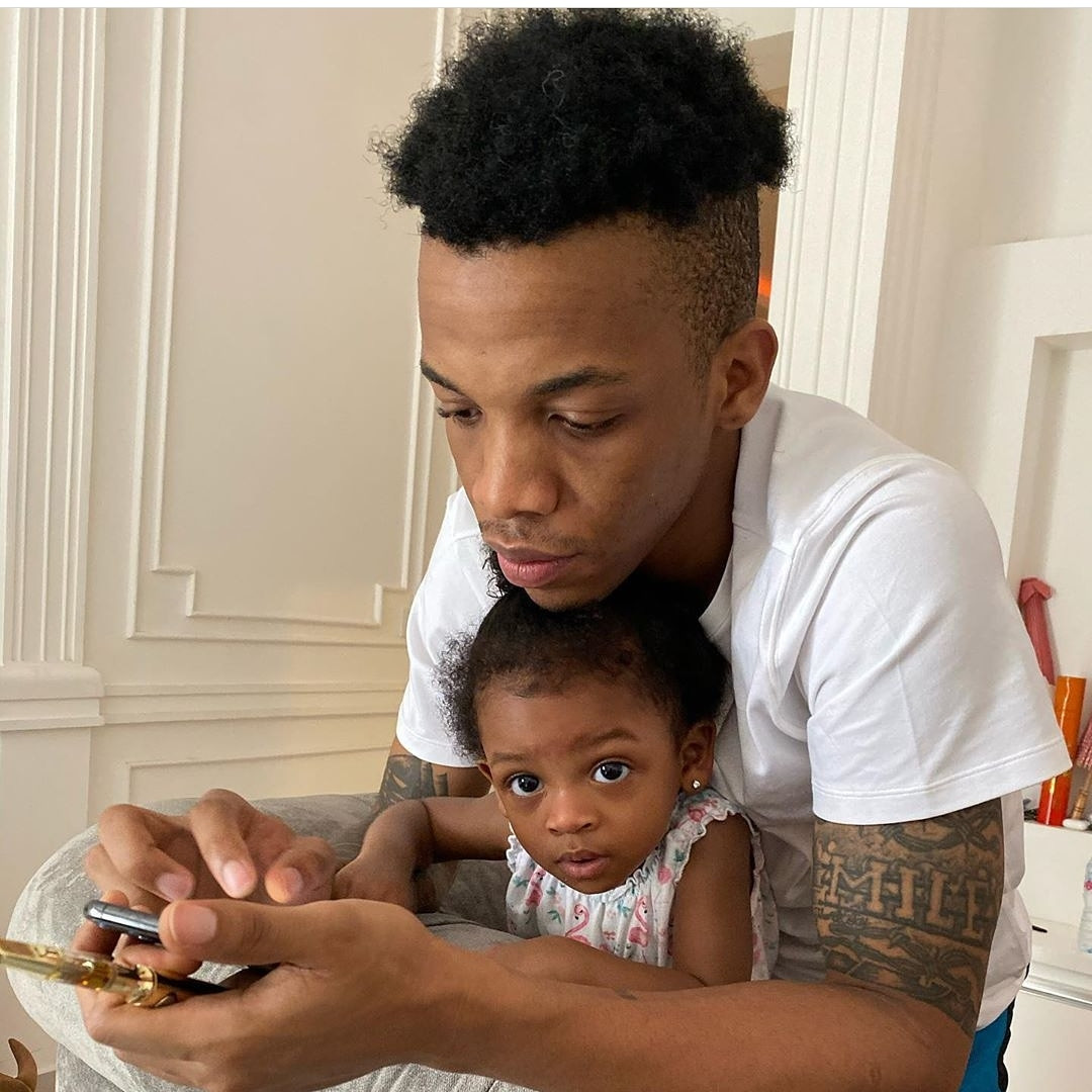 Adorable photo of singer Tekno and his daughter, Skye