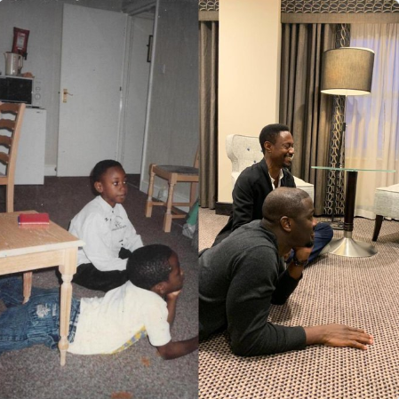 Friends reunite 27 years later in their old neighbourhood and recreate photo they took years ago