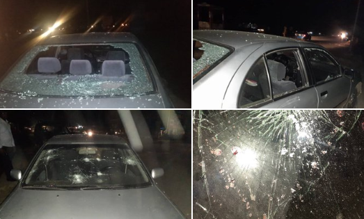 Twitter stories: Lady allegedly beaten to stupor and her car damaged by policeman because she honked at him (photos)