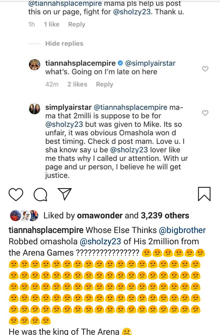 "Toyin Lawani accuses Big Brother Naija organizers of ""robbing"" Omashola of the Arena Games money in favour of Mike"