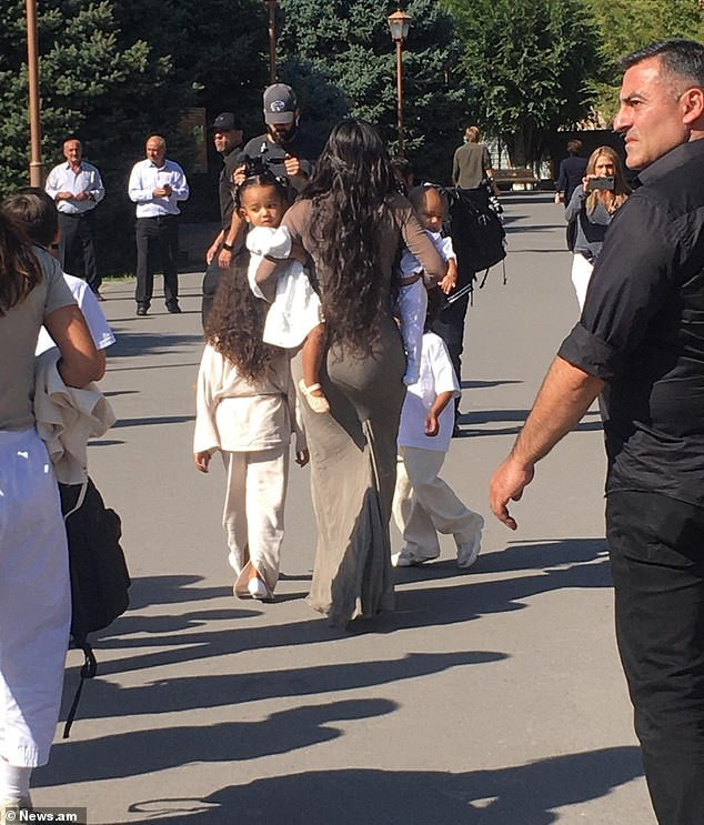 Kim Kardashian arrives in Armenia with her adorable children ahead of their baptism (Photos)