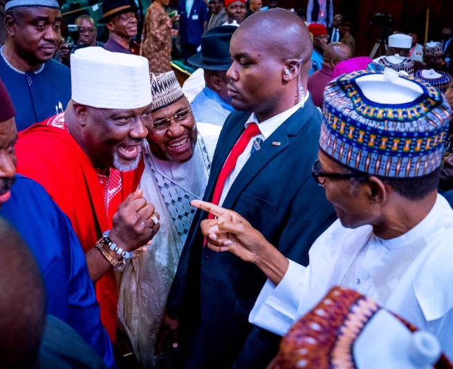 Caption this new photo of President Buhari and Dino Melaye