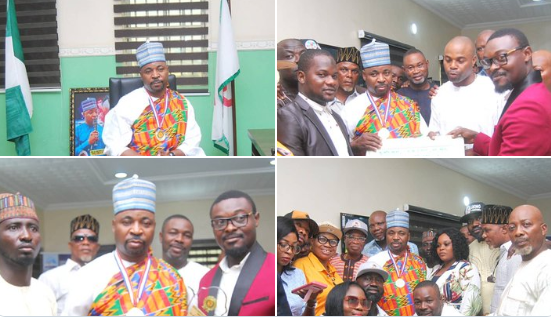 Nigerians react as MC Oluomo bags award for street credibility from Kwame Nkrumah Leadership awards and All African Student Union (photos)
