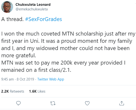 #SexForGrades: Man who was a scholarship benefactor narrates his experience with his male lecturer