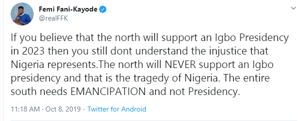If you believe the north will support an Igbo Presidency in 2023 then you still don?t understand the injustice Nigeria represents - FFK