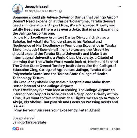 Taraba State University student expelled for criticizing Governor Darius Ishaku on Facebook