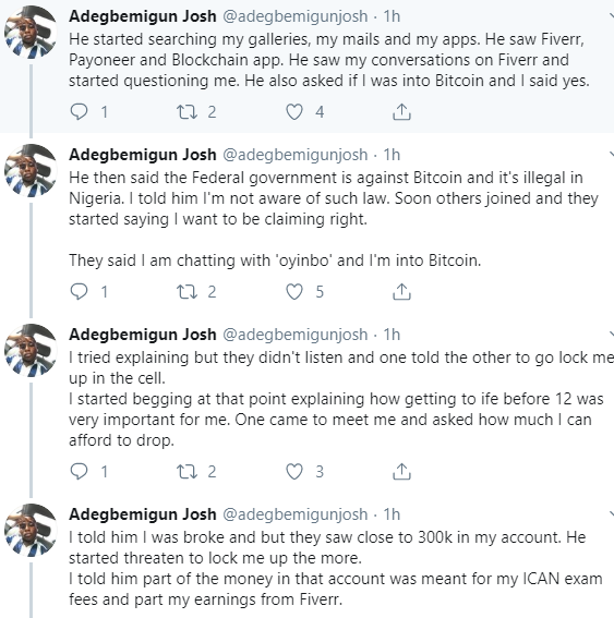 Twitter stories: Nigerian man demands justice after alleging police extorted N130k from him