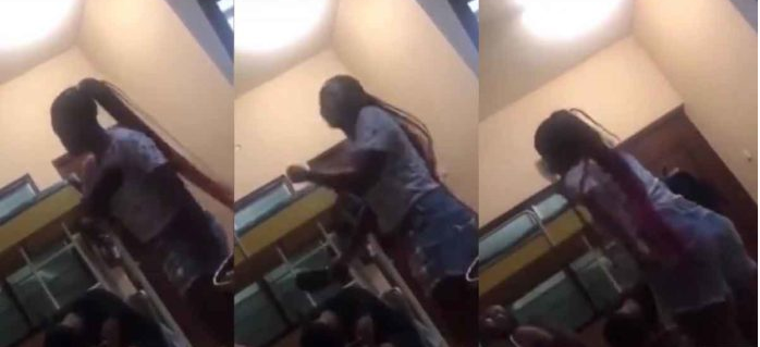 Student beats her boyfriend with slippers for cheating on her (videos)