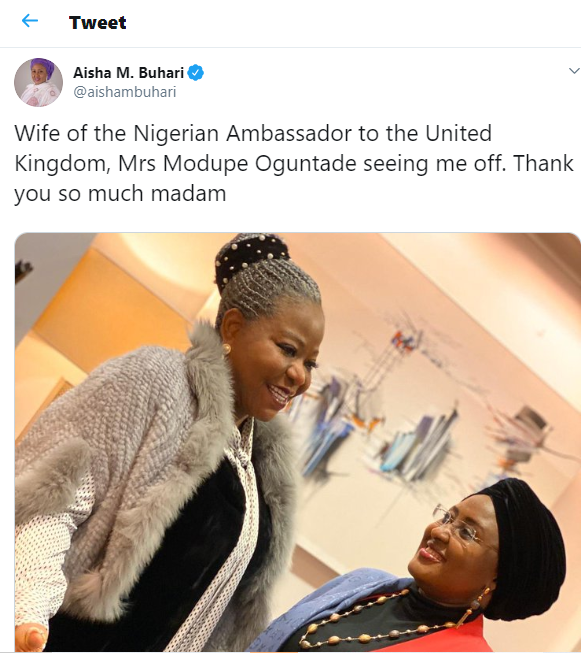 After two months in UK, Aisha Buhari returns to Abuja (Photo)
