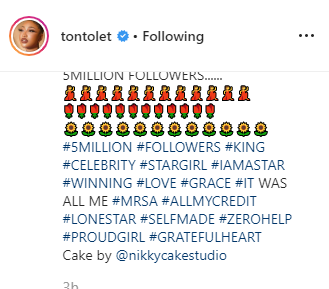 Tonto Dikeh celebrates hitting 5-million followers on IG, calls herself