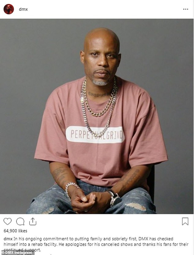 Rapper DMX checks back into rehab and cancels shows