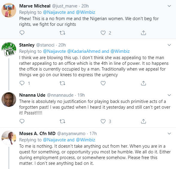 Twitter users slam Women affairs Minister, Pauline Tallen for allegedly kneeling to beg House of Reps speaker Femi Gbajabiamila at a function