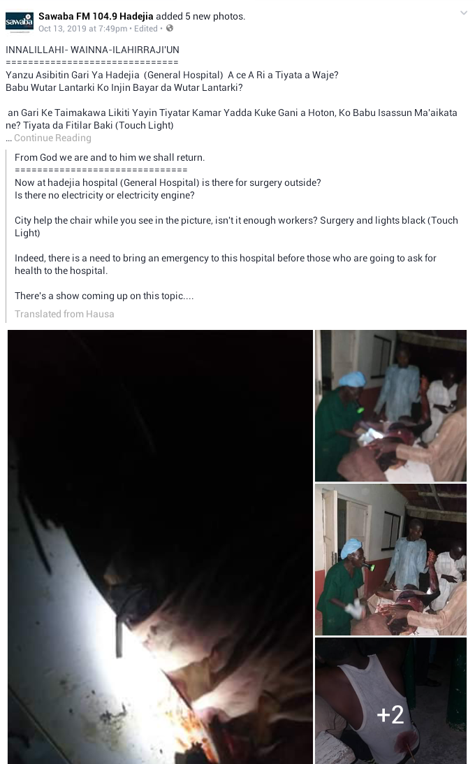 Shocking photos show doctor operating on seriously injured patient under torchlight in Jigawa State